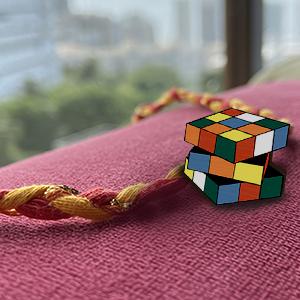 Rubick's Cube: Hand Painted Rakhi